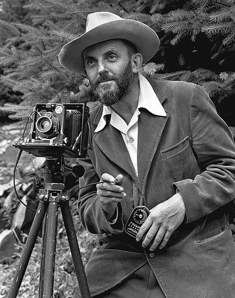 File:Ansel Adams and camera.jpg