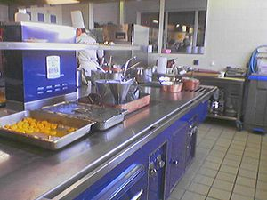 A stainless steel countertop