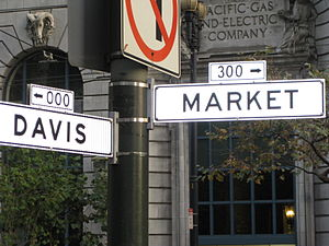 The intersection of Market St. and Davis St.