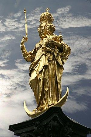 Munich – Maria column in the Marienplatz Deuts...