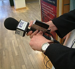 English: An RTÉ Radio microphone in Dublin, wa...