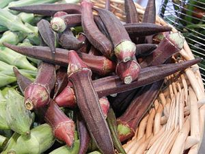 English: Red okra pods