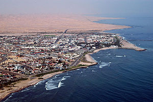 Close-up aerial photo of Swakopmund (Namibia)