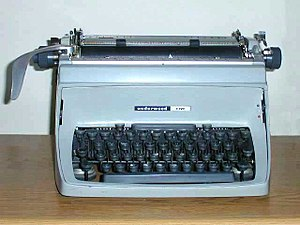 Mechanical desktop typewriters, such as this U...