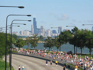 Chicago Half Marathon from 51st street overpas...