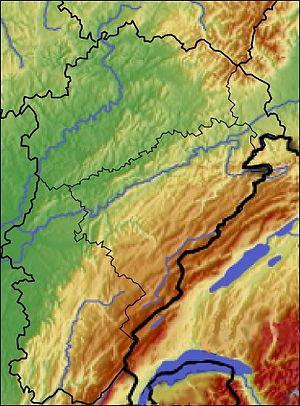 Français : Carte Franche-Comté topo