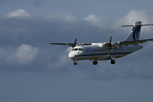An Aer Arann ATR 42 on final approach to Dubli...