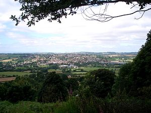 English: Bromyard from Bromyard Downs: Looking...