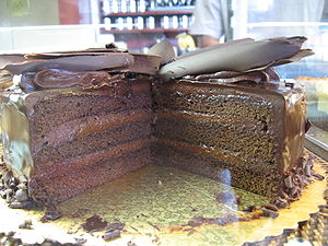 Chocolate cake with chocolate frosting topped ...