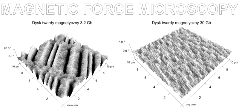3 Gigabyte-Platte und 30 Gigabyte-Platte unter einem Magnetkraftmikroskop (Quelle: Wikipedia)