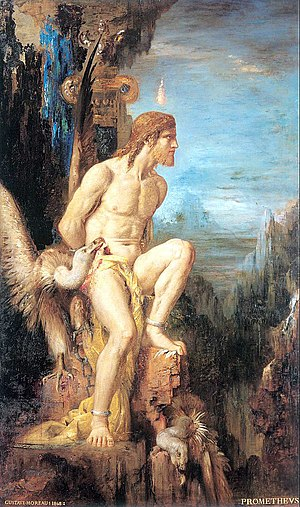 A painting of Prometheus chained to a rock for...