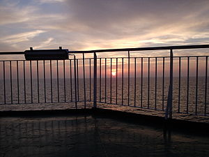 The sun sets over the East China Sea. Taken on...