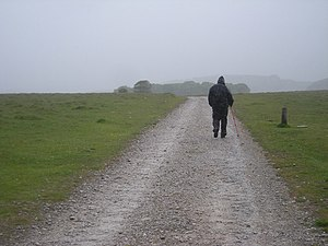 English: Track to Malham Tarn in appalling wea...