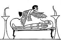 Isis in Gestalt eines Ba-Vogels über dem Leichnam des Osiris