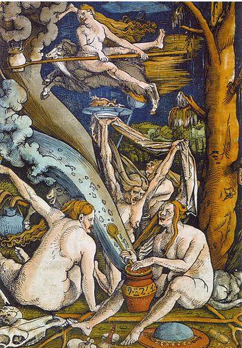 Hans Baldung Grien, Witches, woodcut, 1508. Mu...
