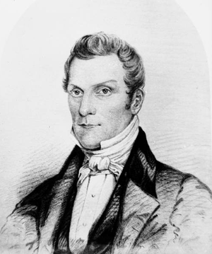 A copy of a drawing of Hyrum Smith, brother of...