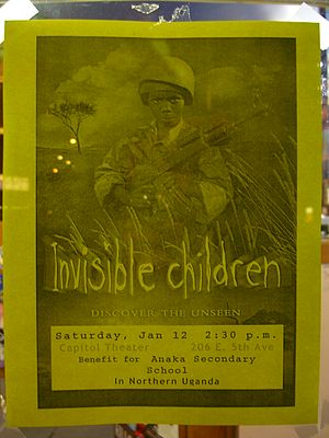 Flyer for movie showing of Invisible Children ...