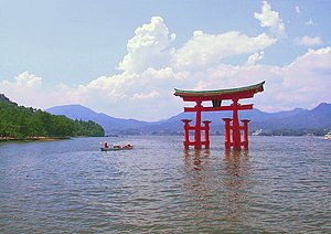 The torii of Itsukushima Shrine, the site's mo...