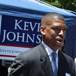 Kevin Johnson at a mayoral rally on 28 May 200...
