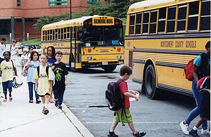 Children leaving the school. Montgomery County...
