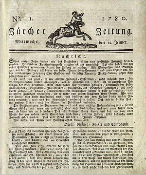 First edition of the Zürcher Zeitung, 12 Janua...