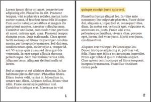 English: Example of orphan typesetting (highli...