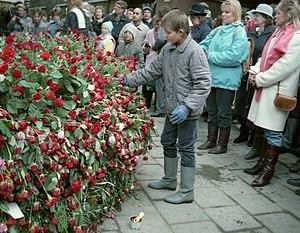 Deutsch: Die Stockholmer ehren Olof Palme 1986...