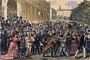 English: Black Friday at May 9th 1873 at the V...