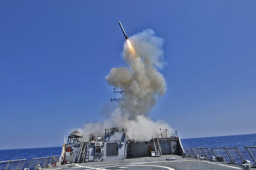 US Navy 110329-N-XO436-010 The Arleigh Burke-class guided-missile destroyer USS Barry (DDG 52) launches a Tomahawk cruise missile to support Joint