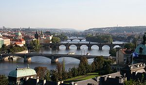 View of Vltava in the Prague city center. Deut...