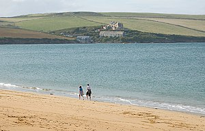 English: Walking on Tregirls Beach