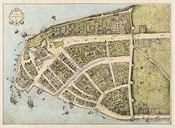 Manhattan en 1660, cuando era parte de Nueva Amsterdam. El norte queda a la derecha.