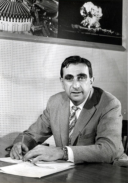 Edward Teller -- one of the hydrogen bomb inventors. I didnt know his name before, so I found it in wikipedia for you to save some time. He worked on nuclear bomb project and later on hydrogen bomb. This image is from wikipedia.