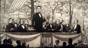 Lincoln at a debate with Stephen Douglas. This...