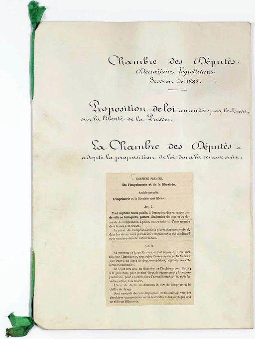 Loi sur la liberté de la presse 1 - Archives Nationales - A-1404