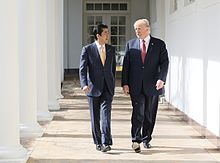 Abe and the current U.S. President Donald Trump in February 2017