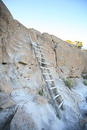Ladders new & ancient at Tsankawi