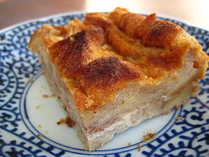 A slice of home-made bread pudding.