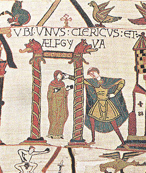 English: Section of Bayeux Tapestry showing Ae...
