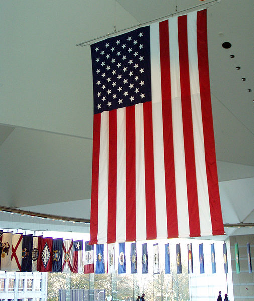 U.S. flag displayed in the National Center for the Constitution, Philadelphia.  Photo by Jeffrey M. Vinocur, via Wikimedia. Constitution Day is September 17.