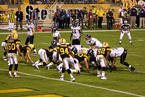 The Pittsburgh Steelers lineup against the Bal...