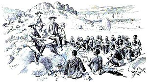 English: Cecil Rhodes makes peace with the Nde...