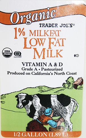English: Trader Joe's organic milk label