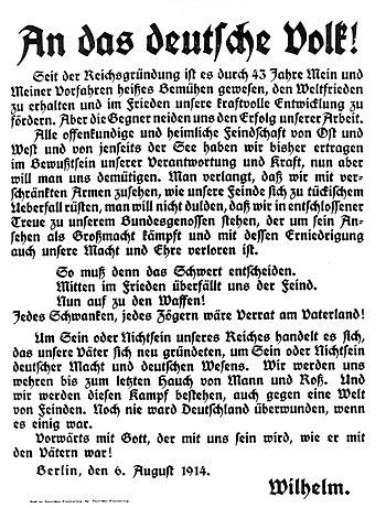 Deutsch: Text der Ansprache von Kaiser Wilhelm...