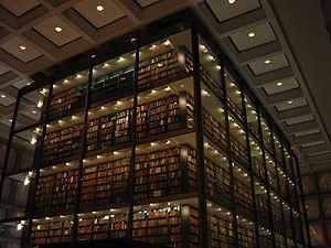 The central shelving area of Beinecke Library
