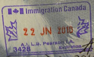 English: Passport Stamp issued by Immigration ...