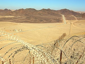 Looking north along Egypt-Israel border north ...