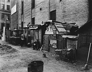 English: Huts and unemployed, West Houston and...