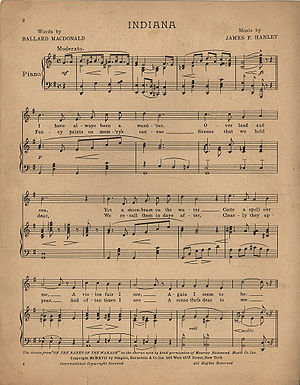 "Sheet music of ""Indiana"". Page 1 of 2."