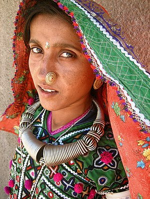 A Meghwal woman in the Hodka village, north of...